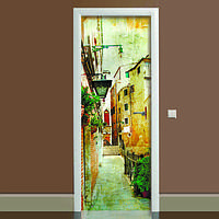 Виниловая наклейка на дверь Прованс 01 (полноцветная фотопечать пленка для двери) ламинированная двойная 650*2000 мм