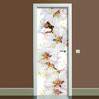 Вінілова наклейка на двері Квіти вишні (повнокольоровий фотодрук плівка для дверей) ламінована подвійна