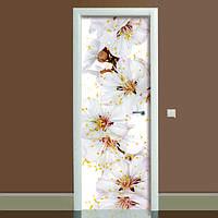 Виниловая наклейка на дверь Цветы вишни (полноцветная фотопечать пленка для двери) ламинированная двойная 650*2000 мм