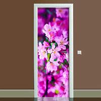 Виниловая наклейка на дверь Цветение 02 (полноцветная фотопечать пленка для двери) ламинированная двойная 650*2000 мм