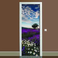 Виниловая наклейка на дверь Лаванда 02 (полноцветная фотопечать пленка для двери) ламинированная двойная 650*2000 мм