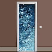 Вінілова наклейка на двері Роса ламінована подвійна (плівка фотодрук кульбаби краплі води)