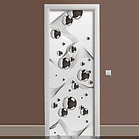 Вінілова наклейка на двері Сталеві кулі Геометрія ламінована подвійна ПВХ плівка сірий 650*2000 мм