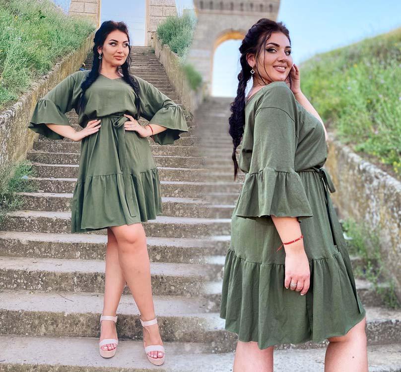 """Літнє жіноче плаття у великих розмірах 15353/2-1 """"Коттон Рукава Волан"""" в кольорах"""