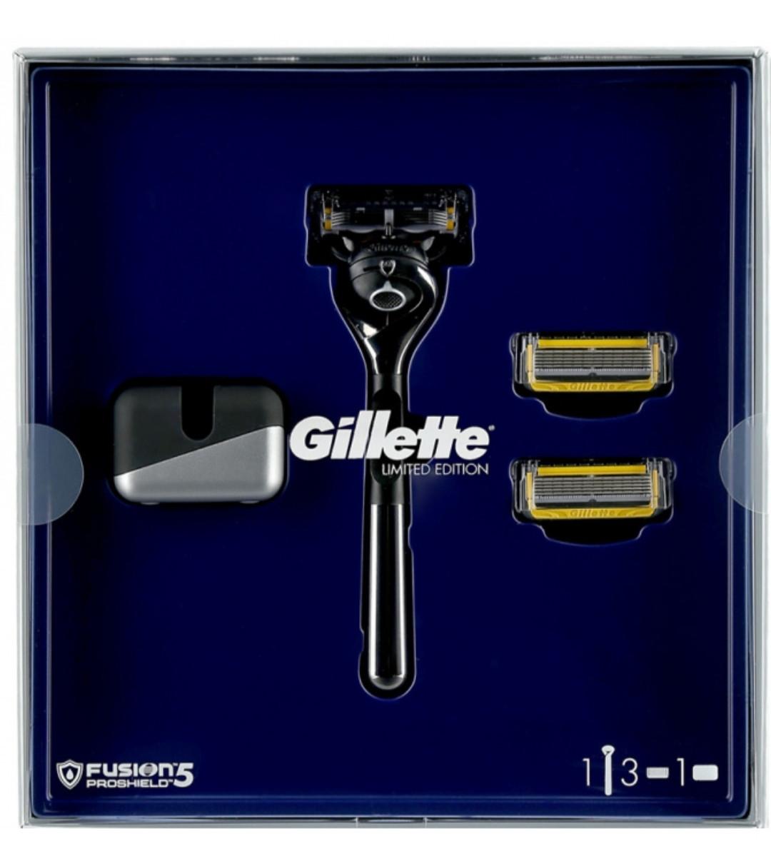 Подарунковий набір Limited Edition Хромований станок GILLETTE Fusion ProShield Flexball+ 3 картриджа + подст.