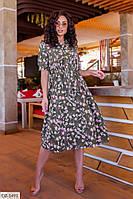 Винтажное легкое платье с цветочным принтом Размер: 50, 52, 54, 56 арт 5182/1