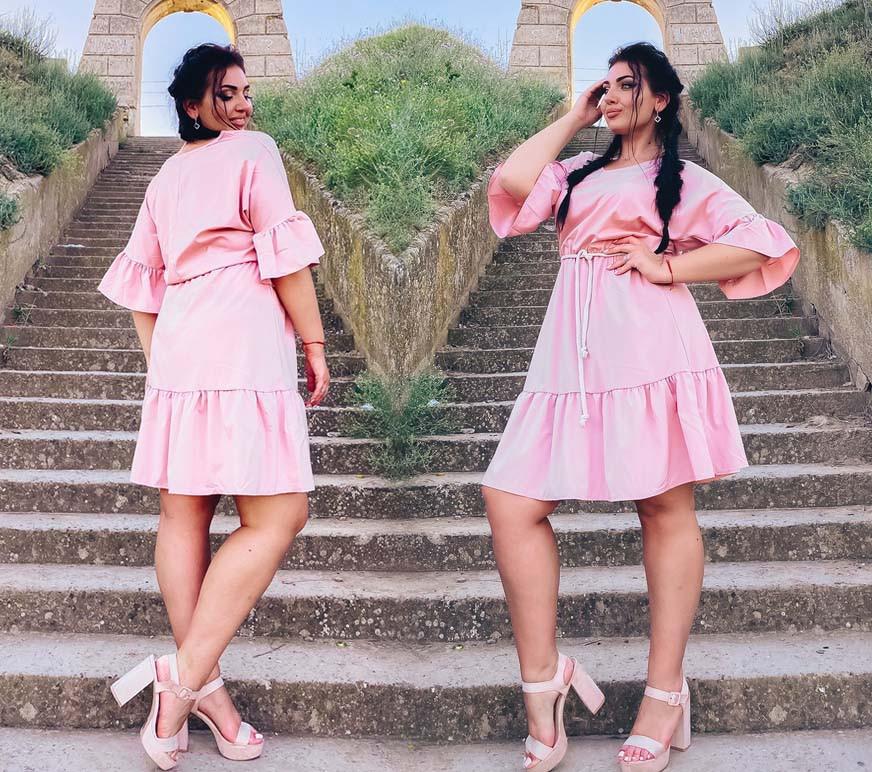 """Літнє жіноче плаття 15353 """"Софт Рукава Волан"""" в кольорах"""