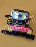 Фонарь велосипедный передний и задний свет QX-T0203 аккумуляторный, фото 2