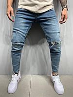 Синие рваные джинсы мужские, модные зауженные джинсы, молодежные турецкие в обтяжку джинсы(весна, осень)