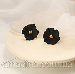 Нежные женские серьги цветы черные, серьги цветочки