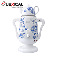 Электрический самовар LEXICAL LSV-0801 1800W с керамическим заварочным чайником, Белый, Черный
