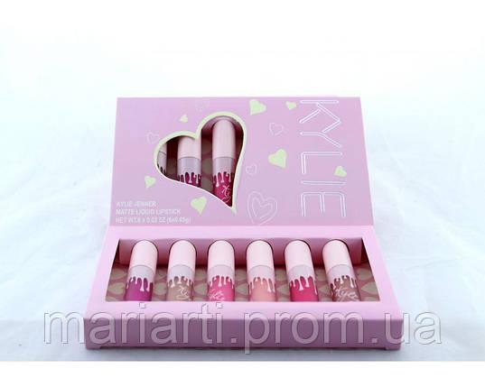 Набор жидких матовых помад Kylie 6 в 1 розовая коробка с сердцем, фото 2