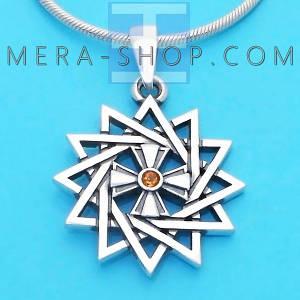 Серебряная Звезда Эрцгаммы двухсторонняя с цитрином - амулет Эрцгамма (24 мм, 4.7 г)