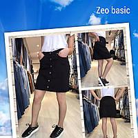 Юбка-трапеция джинсовая для девушек на пуговицах размеры 34-40, черного цвета