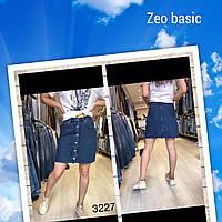 Юбка-трапеция джинсовая для девушек на пуговицах размеры 34-40, синего цвета