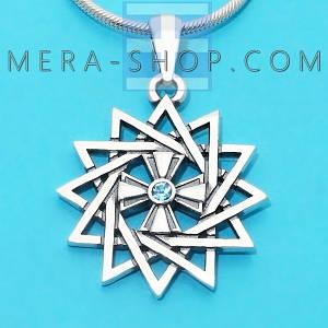 Серебряная Звезда Эрцгаммы двухсторонняя с топазом голубым - амулет Эрцгамма (24 мм, 4.7 г)