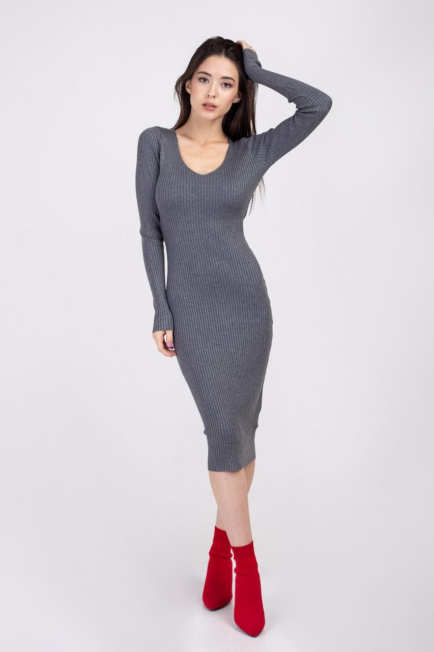 Трикотажное платье София серое S-M (М-2192)