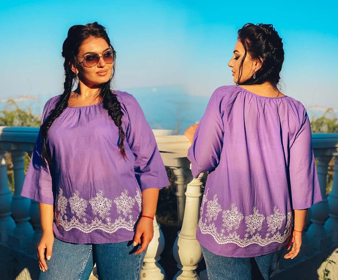 """Летняя женская стильная блузка в больших размерах 15362 """"Батист Прошва Разлетайка"""" в расцветках"""