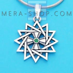 Серебряная Звезда Эрцгаммы двухсторонняя с топазом зеленым - амулет Эрцгамма (24 мм, 4.7 г)