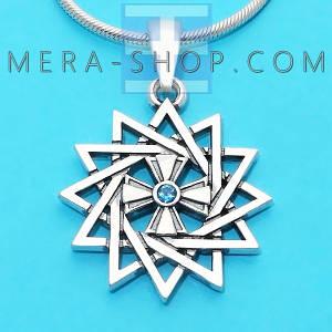 Серебряная Звезда Эрцгаммы двухсторонняя с топазом синим - амулет Эрцгамма (24 мм, 4.7 г)