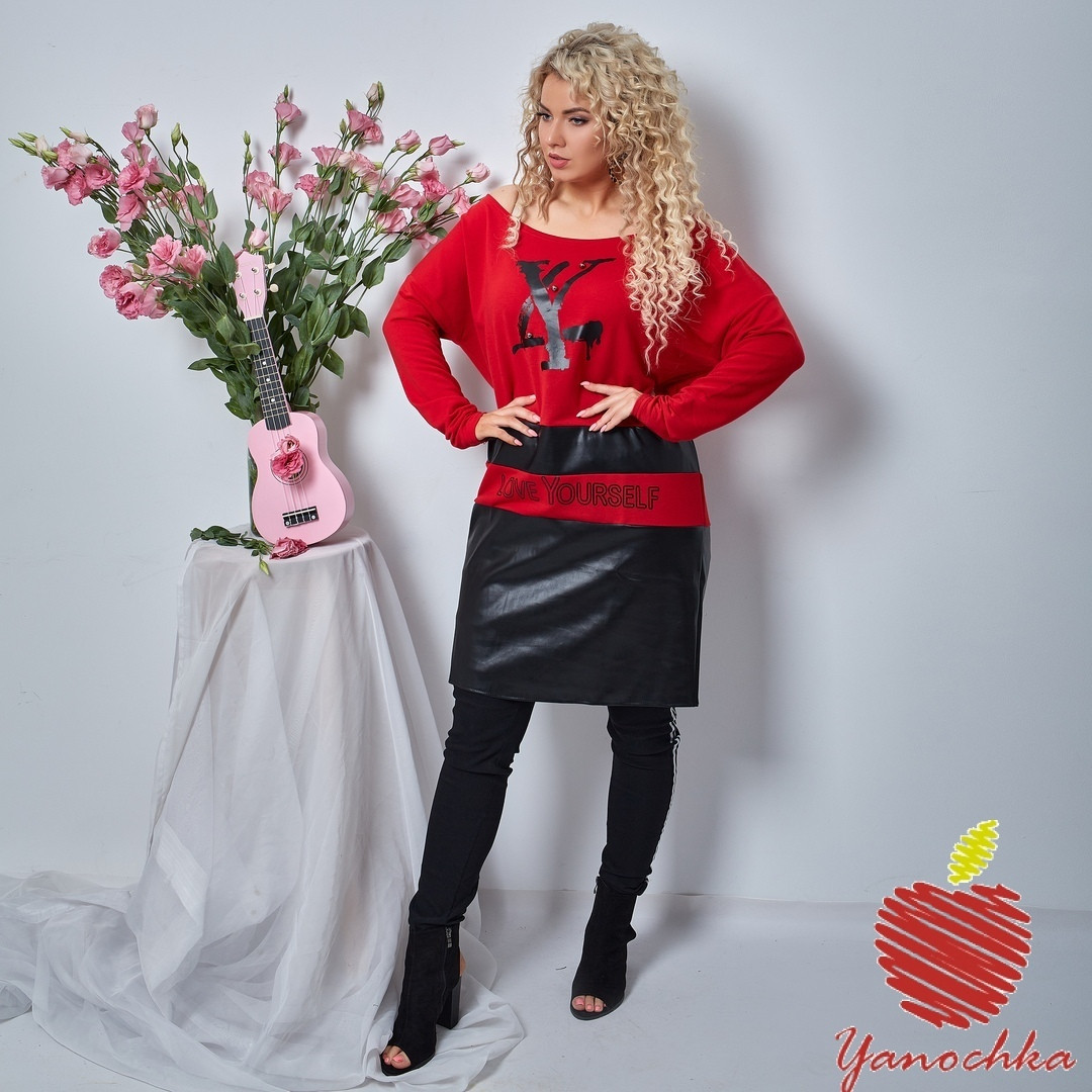 Платье женское ровного фасона трикотаж двухнить и эко кожа размер батал: 3(50-52), 4(54-56)