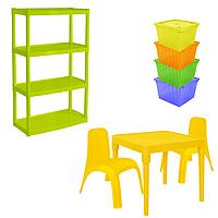 Комплект детской мебели Малыш 5 стол + 2 стула + стеллаж + 4 емкости для игрушек 18-100-36, КОД: 1130298