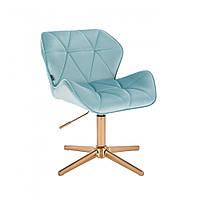 Перукарське крісло Hrove Form HR111С блакитний велюр основа золота, фото 1