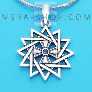 Серебряная Звезда Эрцгаммы двухсторонняя с сапфиром синим - амулет Эрцгамма (24 мм, 4.7 г)