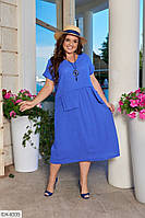 Длинное однотонное свободное платье с карманами обманками Размер: 50, 52, 54, 56 арт 097