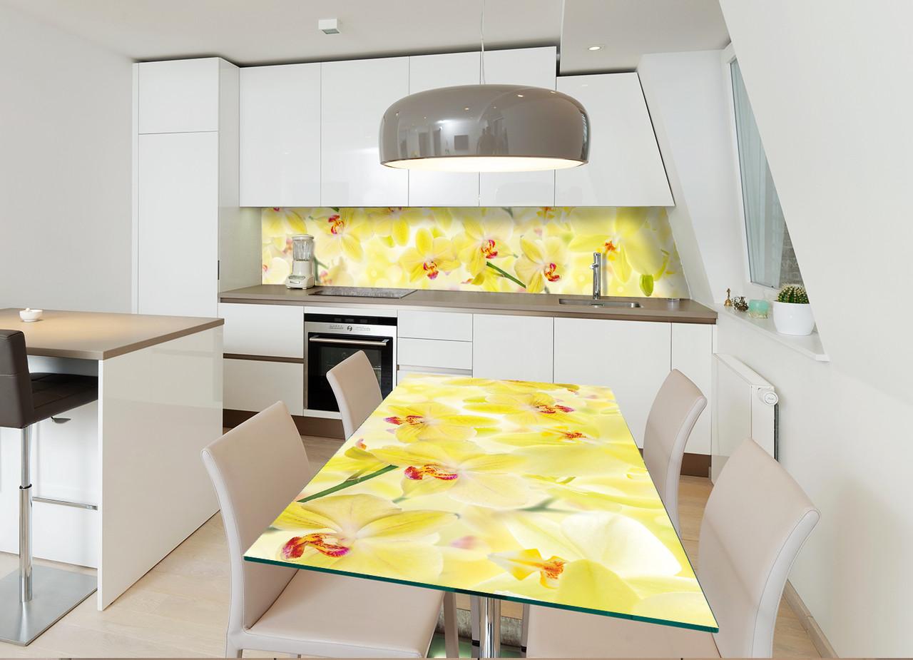 Наклейка на стол Лимонные Орхидеи (декор мебели виниловые наклейки цветы) желтый 600*1200 мм