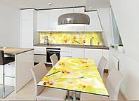 Наклейка на стол Лимонные Орхидеи (декор мебели виниловые наклейки цветы) желтый 600*1200 мм, фото 1