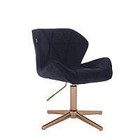 Перукарське крісло Hrove Form HR111С чорний велюр основа золота