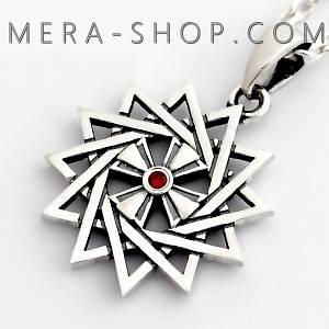 Серебряная Звезда Эрцгаммы двухсторонняя с гранатом красным - амулет Эрцгамма (24 мм, 4.7 г)