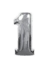 Шарики надувные фольгированные MK 2723-1 цифра 1, 18 дюймов, серебро