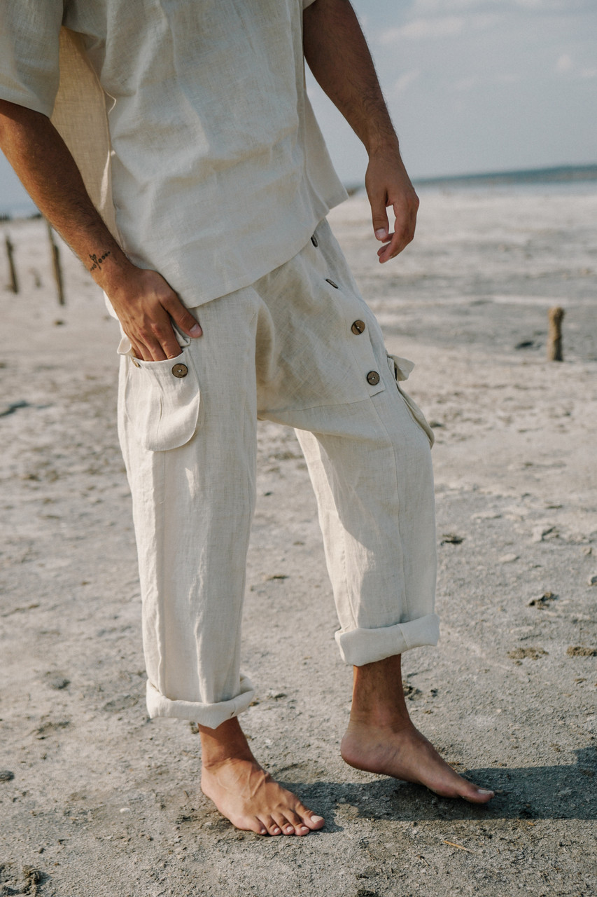 Стильные удобные штаны лен цвет белый