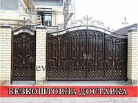 Ковані ворота з хвірткою та ковкою