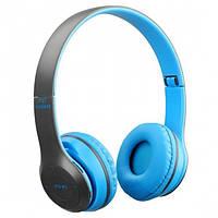 Беспроводные Bluetooth стерео наушники HBQ MEGA BASS P47 с MP3 Синие
