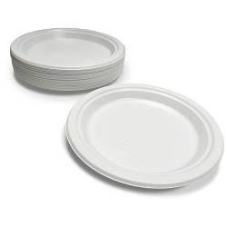 Тарелка пластиковая плоская круглая Премиум белая - 50 шт, D260