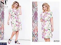 Легкое стильное платье с резинкой на талии с цветочным принтом  Размер: 48-52, 54-58 арт 04018