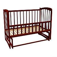 Кроватка для новорожденных шоколад ортопедическая маятниковый механизм качания откидной бортик ламели