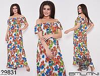 Длинное прямое платье с ярким принтом Размер: 46-48, 50-52, 54-56, 58-60 арт 7125