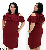 Женское летнее платье большого размера бордовое 48,50,52,54,56, фото 1