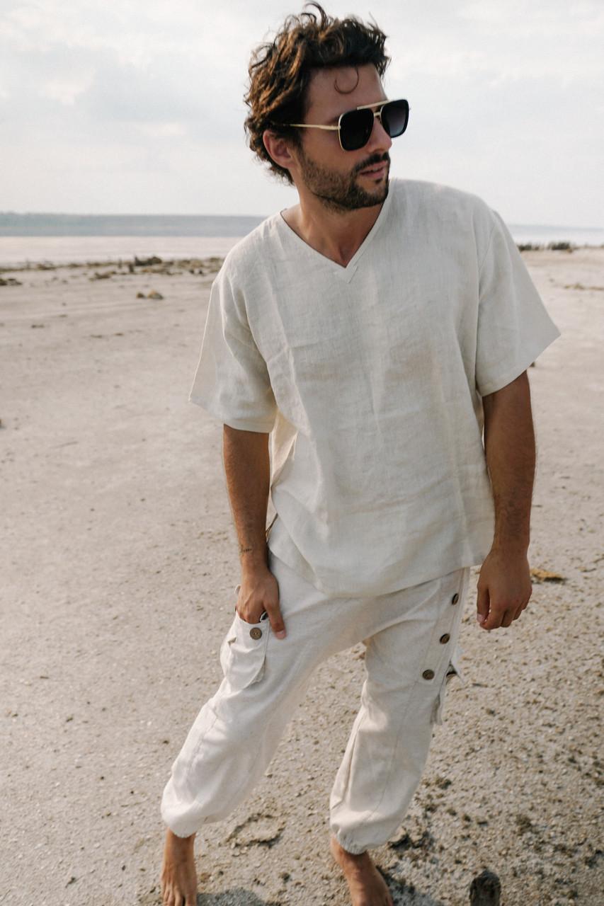 Стильные красивые удобные мужские штаны ,натуральный лен, цвет белый.