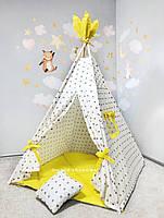 Палатка детская игровая «Солнечные звёзды» из хлопка с окошком