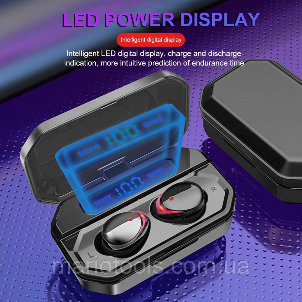 Водонепроникні музичні TWS блютуз навушники 9D з зарядним боксом F8-HiFi 3500 Mah