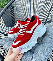 Модные кроссовки из натурального замша 36-40 р красный, фото 1