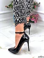 Туфли женские лаковые черные 27875