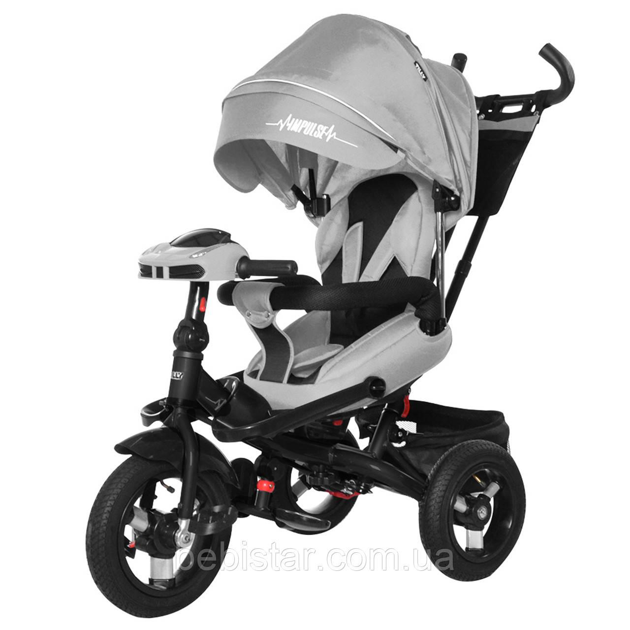 Трехколесный велосипед усиленной рамой TILLY Impulse Т-386/1 с пультом на надувных колесах музыка и свет