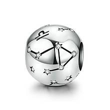 "Шарм ""Знак зодиака Весы"" серебро 925 проба, кубический цирконий"