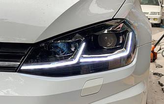 Передние фары VW Golf 7.5 рестайл (2017+) тюнинг Led оптика стиль GTI